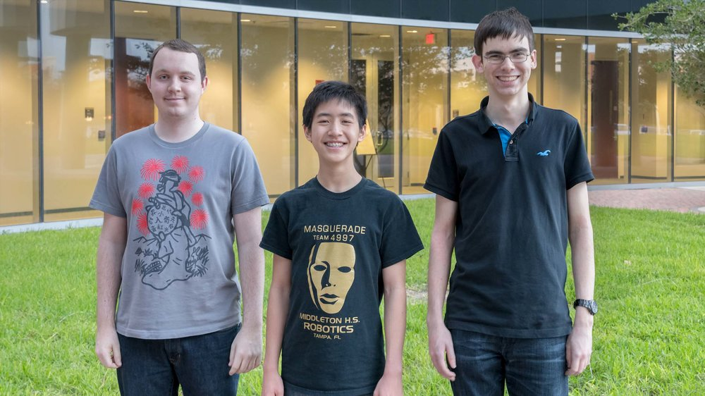 FM Dalton Perrine (2272) (L), Truman Hoang (2186) (M) and John Ludwig (2491) (R) were the top finishers in Last weekend's 2017 CFCC Club Championship hosted by the UCF Chess Club.