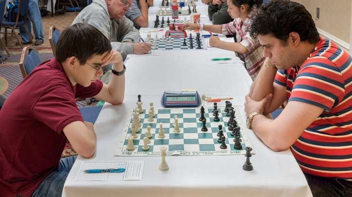CFCC 2016 Sunshine Open and Scholastic- Premier Section, Board 1, Round 3, John Ludwig (2483) (L) vs GM Sandro Pozo Vera (2545) (R) in a game that ended in a draw, helping John win the 5SS G/120;d5 tournament on tie-break points for 1st place overall.