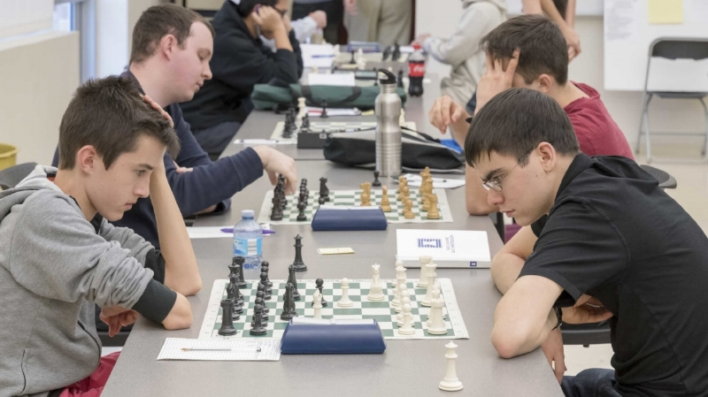 Board One, Round 2 Theo Slade (2177) (L) vs John Ludwig (2463) (R), 2017 CFCC Club Championship at UCF's Teaching Academy