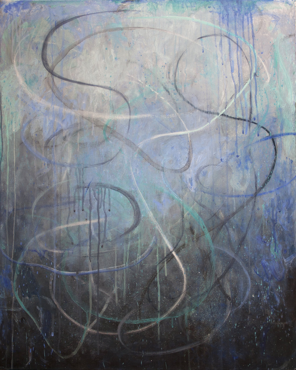 """Deluge"", 30"" x 24"", mixed media on canvas"