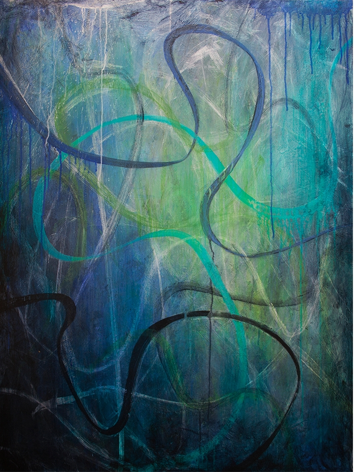 """QUENCH"",  40 inches x 30 inches, mixed media on canvas"