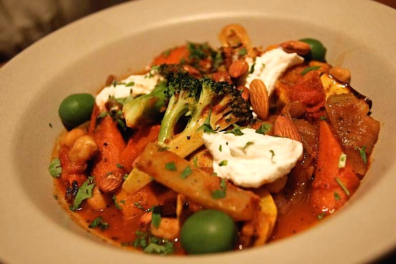 Moroccan Vegetable Tagine, Toasted Almonds and Lemon Yogurt