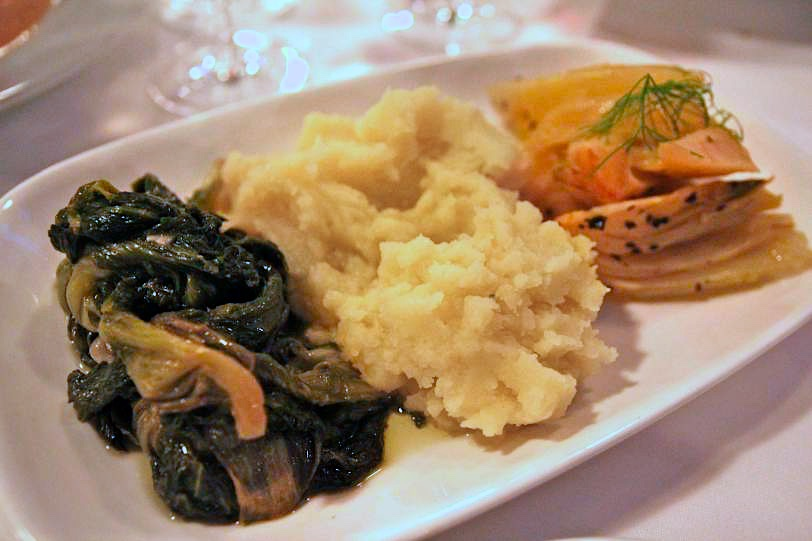 Escarole braised with Garlic and Olive Oil, Olive Oil Potato Purée, and Braised Fennel Jewish style