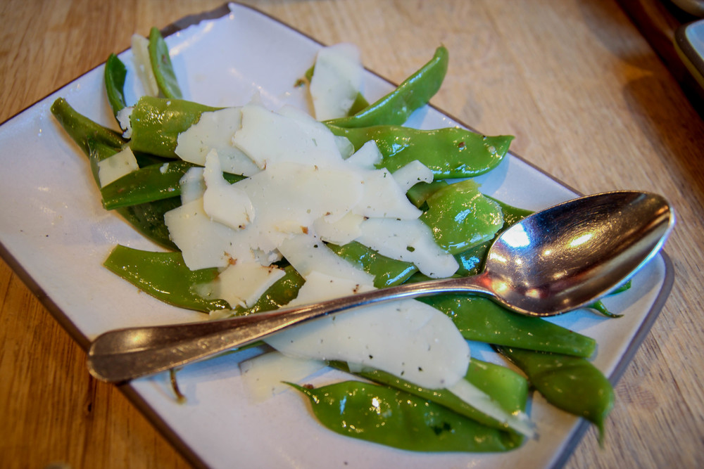 Long cooked romano beans with black olive vinaigrette and Moltinero truffle pecorino