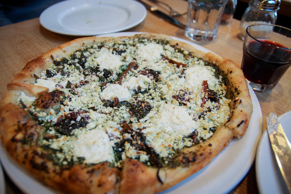 Pesto with braised chard, black olives, ricotta, and ricotta salad