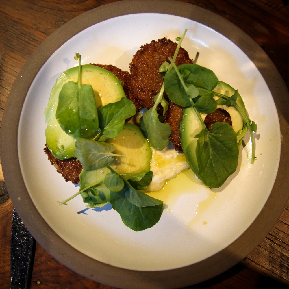 Fried green tomato with Brokaw avocado and tonnato