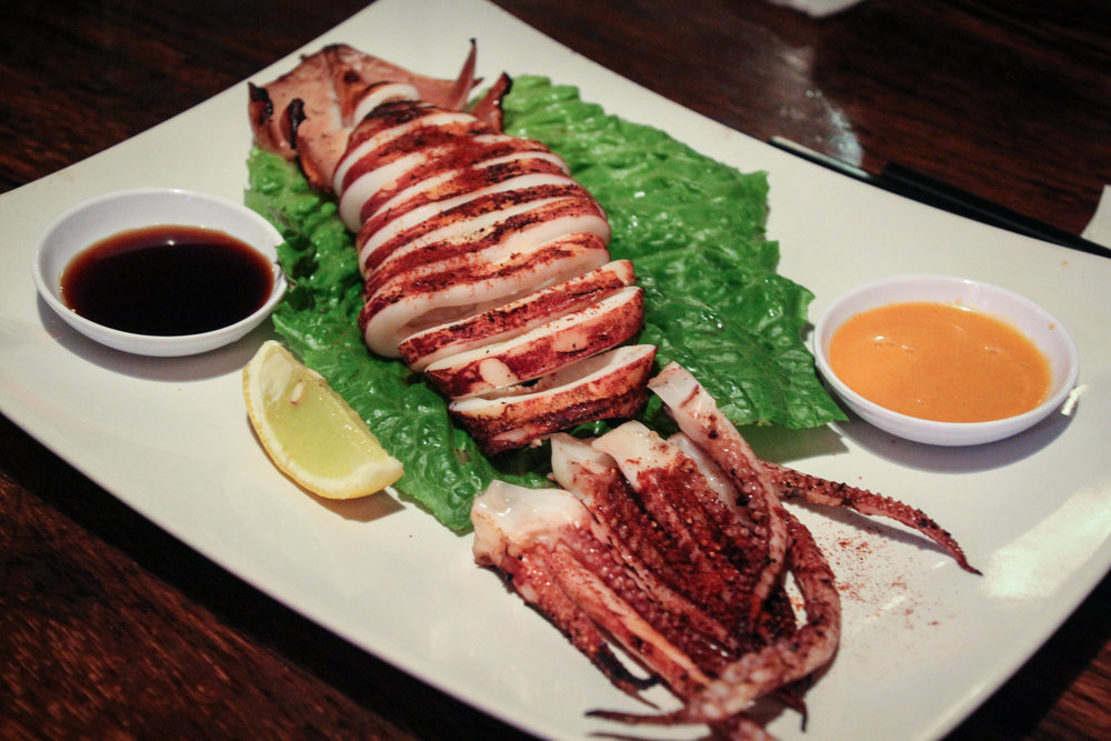 Whole grilled squid with spicy mayo sauce
