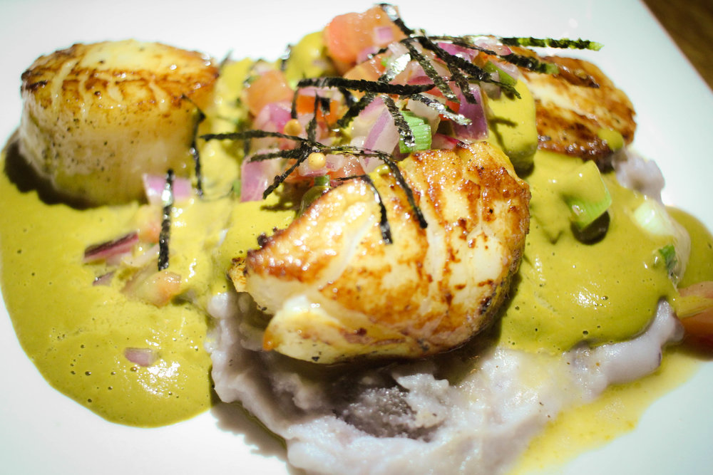 Scallops Fisho: Day boat scallops pan seared with blue mashed potatoes, sarsa panchita.