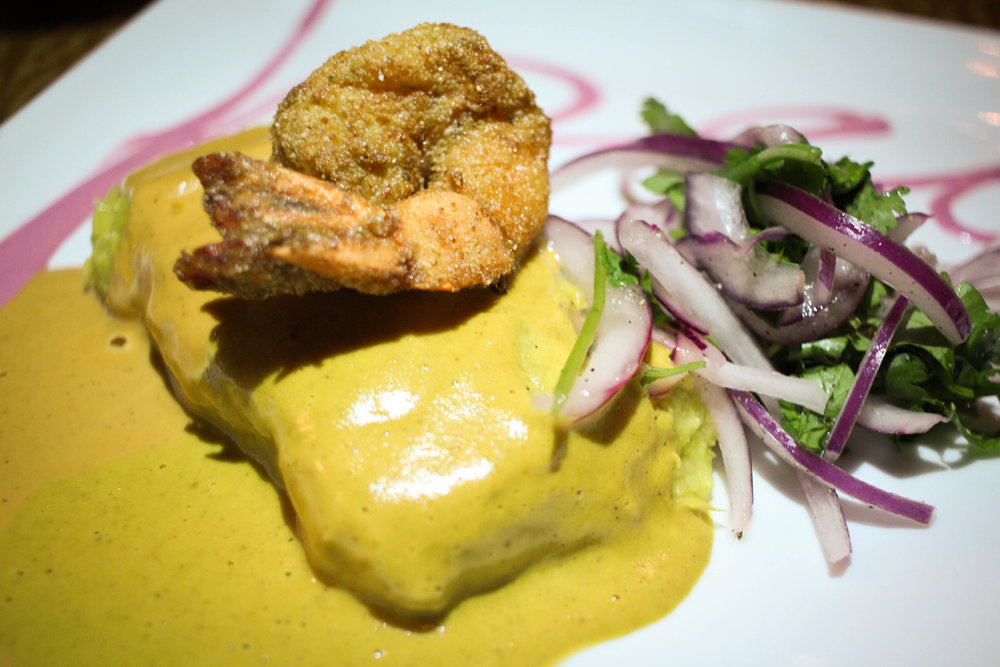 Humita Dulce: Sweet corn tamale, shrimp, Peruvian mole