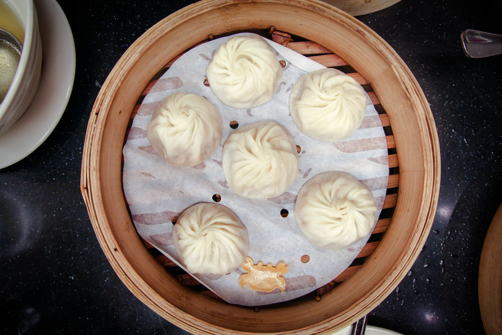 Pork & Crab Xiao Long Bao -Look at that cute crab decal!