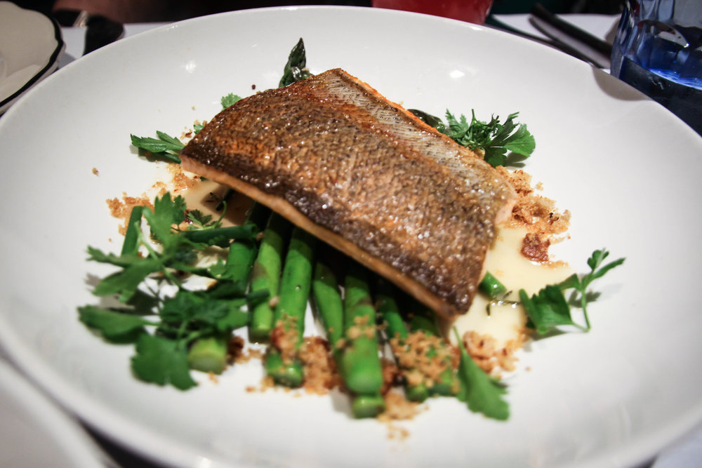 McFarland Springs Trout with Asparagus, Bread Crumbs, and Miso Butter