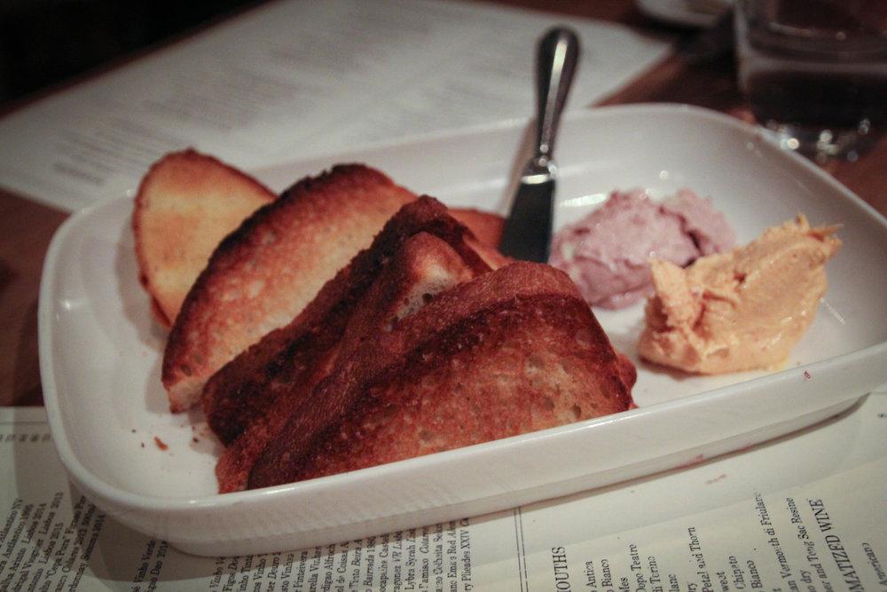 Pao com Manteiga: housemade bread, chourico butter, olive butter