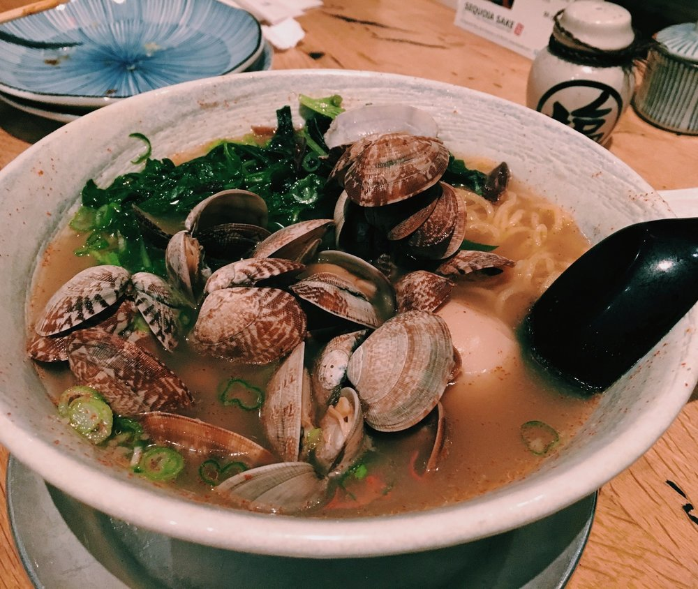 Clam Garlic Ramen: clams, green onion, seaweed, lemon zest, garlic, shrimp oil, Japanese mustard, and butter