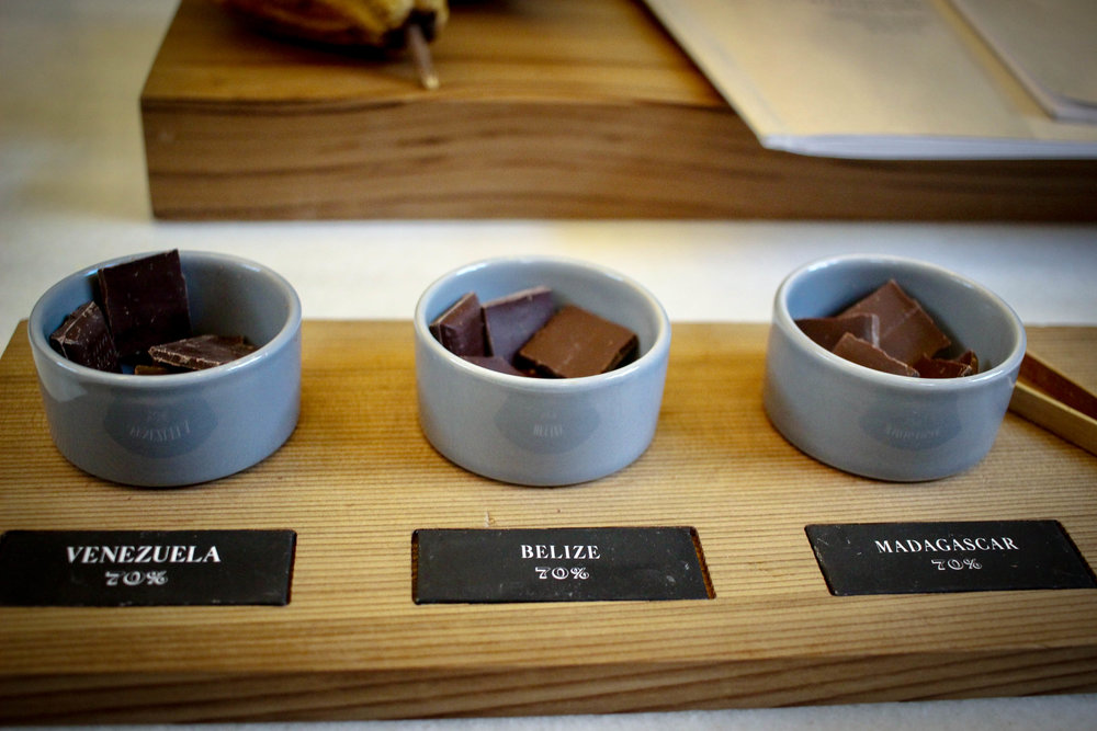 The taste test: (almost) all of the bars made at Dandelion are made with 70% cocoa and no milk products added.