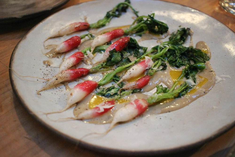 Lightly grilled raw radishes anchovy bagna cauda & parmesan