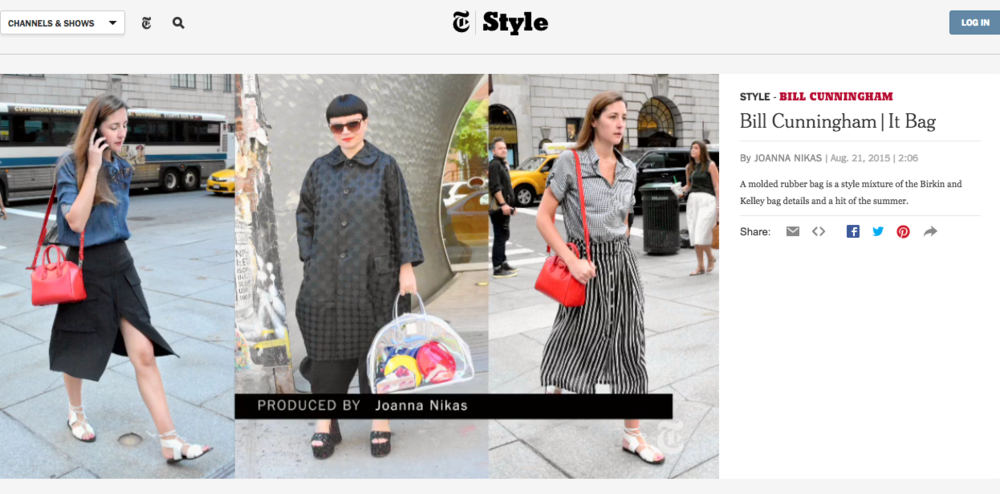 That's me in the middle there, photographed by the incredible Bill Cunningham for the NY Times Style Section, Sunday, August 23rd.