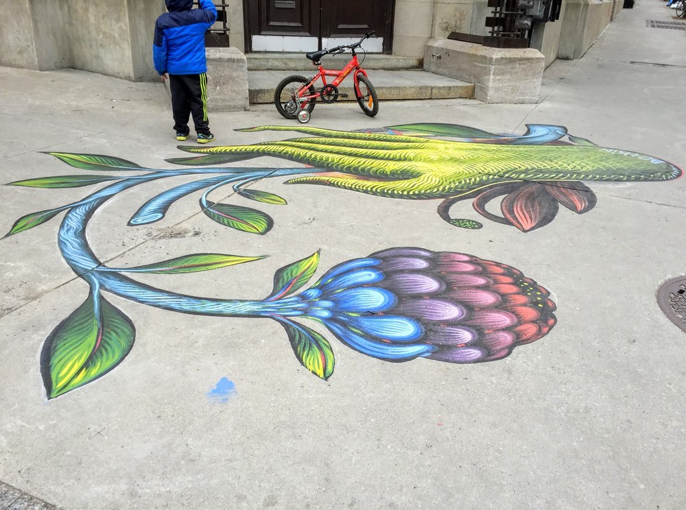 The sidewalk needs some color too!