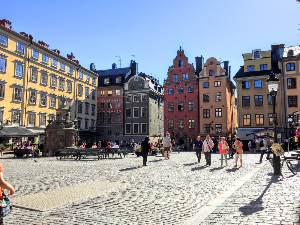 Love the colorful architecture in Gamla Stan // Stockholm, Sweden