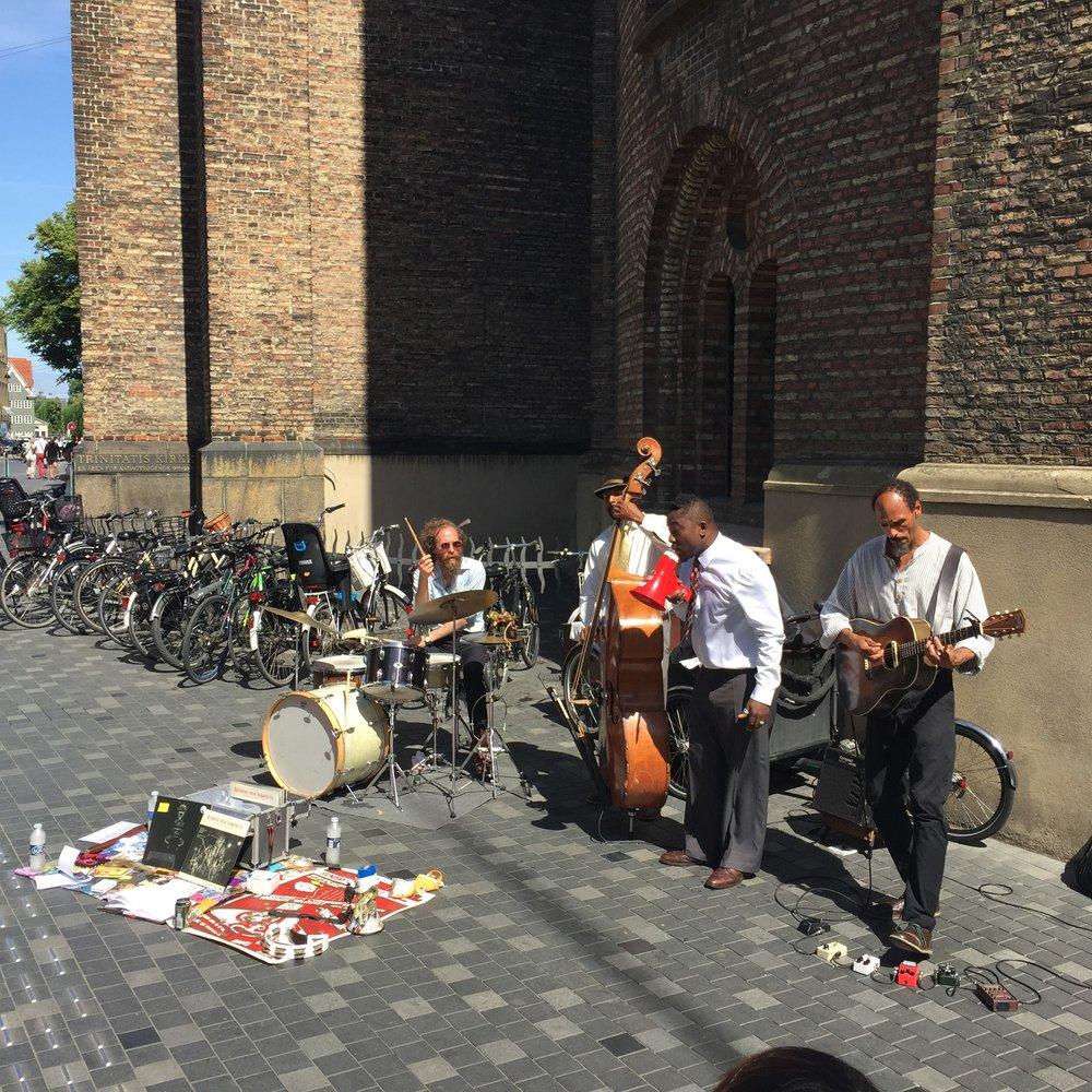 Live music outside of Rundetaarn tower in celebration for the Copenhagen Jazz Festival // Denmark