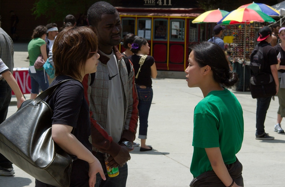 Jinny (right) interacts with fellow Pasadena City College students in 2009.