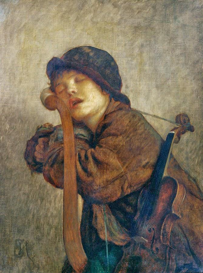 """Ernest Hébert, """"Le Petit Violoneux Endormi"""" (1883),  Musée Hébert"""