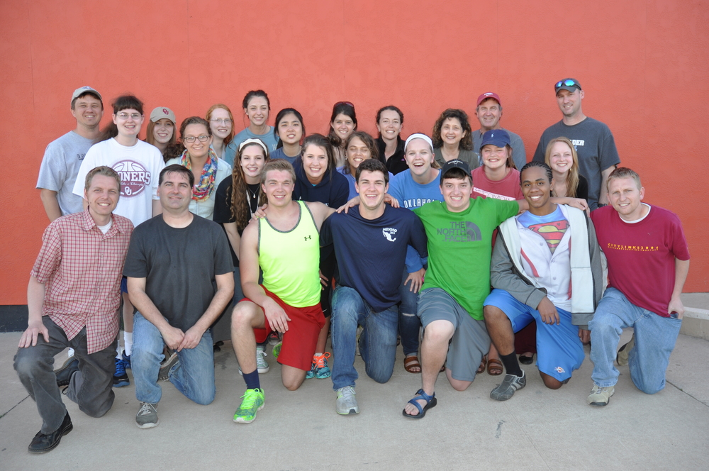 CHA students and JFA staff members pause after a day of  outreach at the University of Oklahoma in March 2015. Keawe is in the first row, second from right.