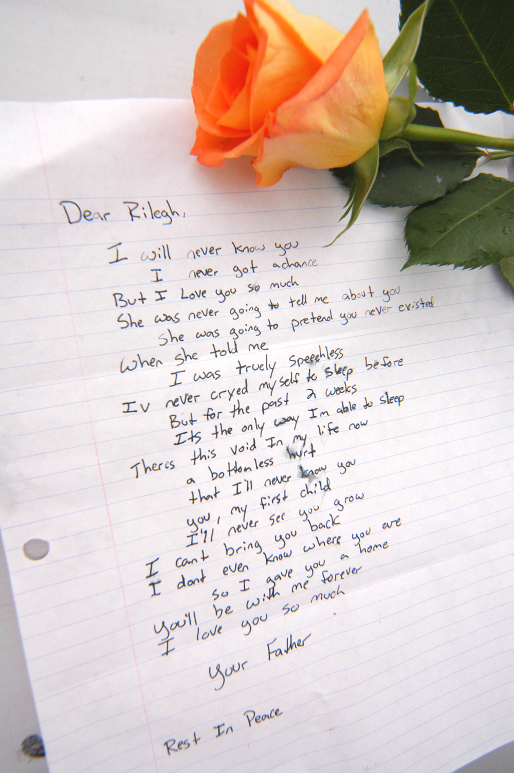 """Dear Rilegh"" - A forlorn young father left this letter and rose on the JFA Poll Table at Colorado State University in 2004."