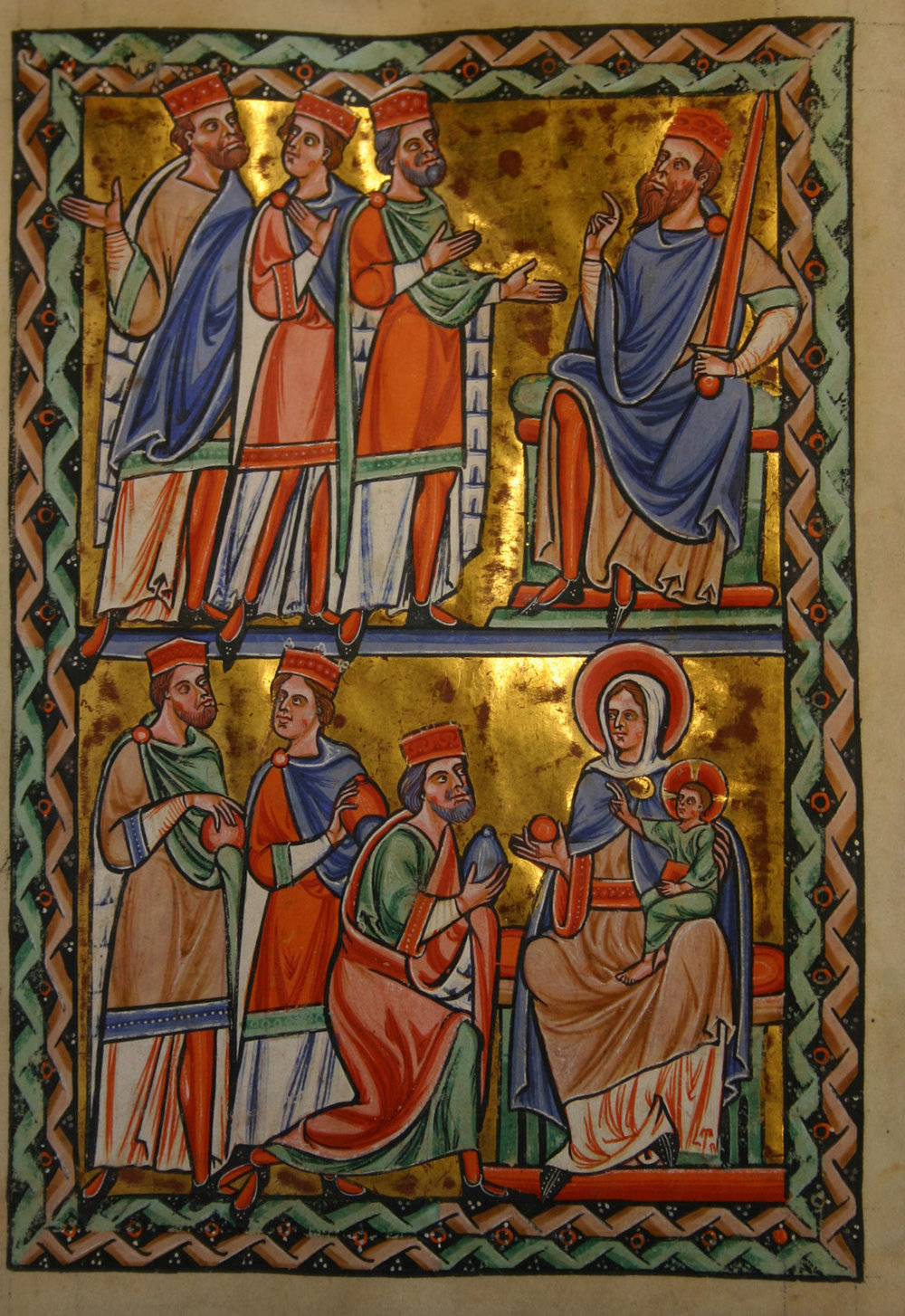 This page from  The Psalter of St. Louis  (circa 1191-1212) alludes to two very different responses to the gift of Jesus.  Above, Herod (right) talks with the magi and prepares to attempt to kill Jesus.  Below, the magi bring gifts to Jesus, showing a much more appropriate sense of awe and appreciation for the gift of Jesus.  ( See Wiki Commons for more information about the image. )