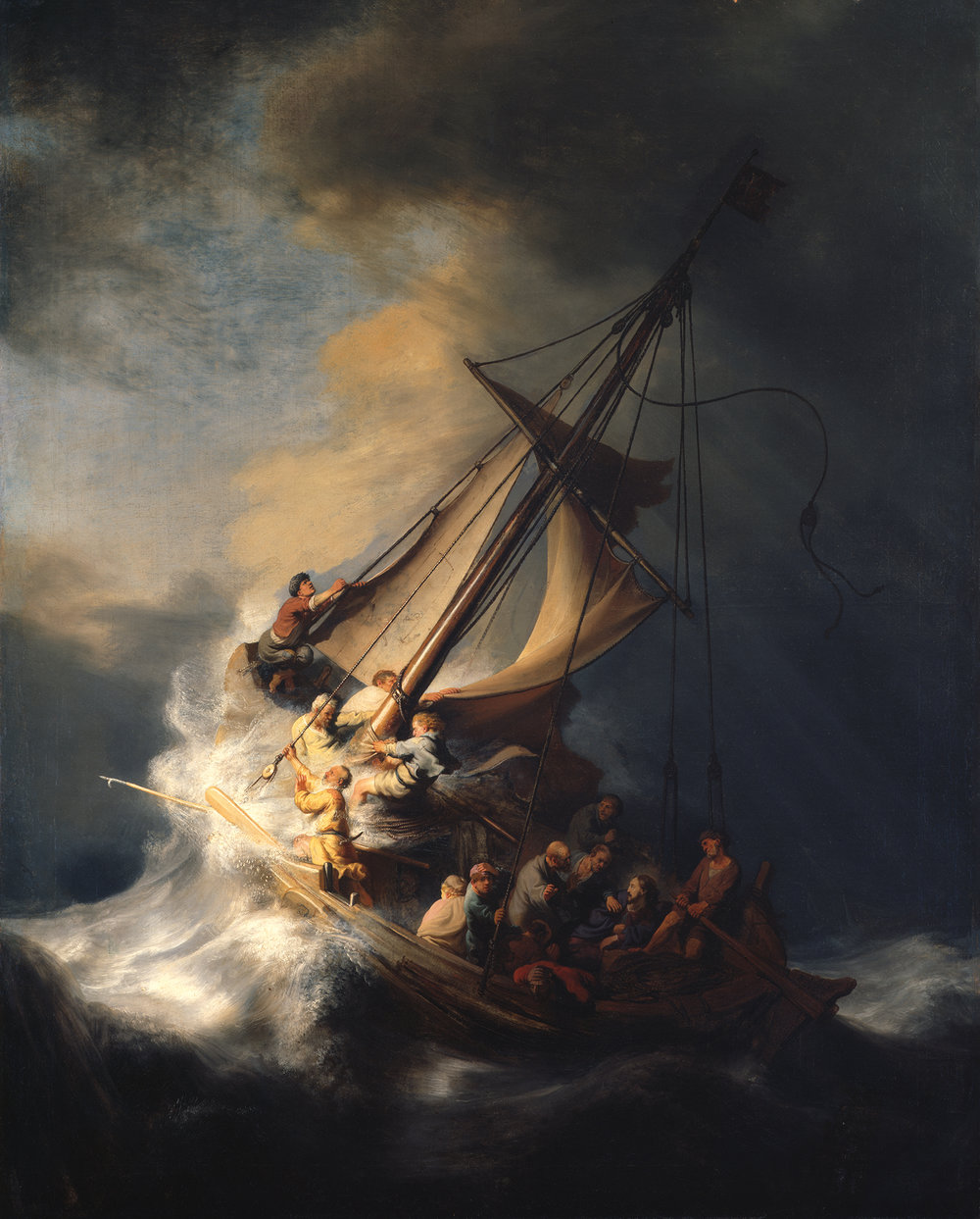 Christ in the Storm on the Sea of Galilee , Rembrandt van Rijn, 1633 ( see Mark 4:35-41 ).  Image of the work  used here for educational purposes courtesy of the  Isabella Stewart Gardner Museum  in Boston  under CC 4.0 . To read the fascinating story of this work's whereabouts, see  the Gardner Museum's page  dedicated to the unsolved mystery of the 1990 heist in which the painting disappeared.
