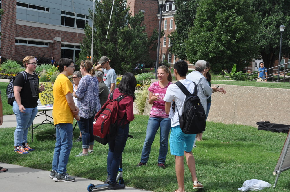 Kaitlyn interacts with students at WSU in the first week of her internship with Justice For All.