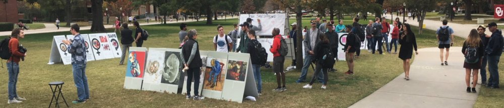 At OU, we filled a large expanse of lawn with conversations sparked by content from our   Art of Life  Exhibit , our   Stop and Think  Exhibit , and our new   Invitation to Dialogue  Brochure .