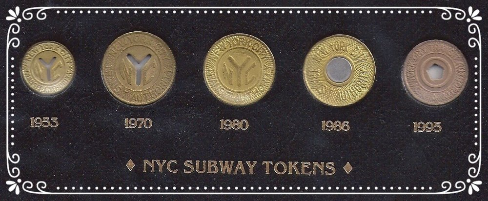 NYC Subway tokens through the years.