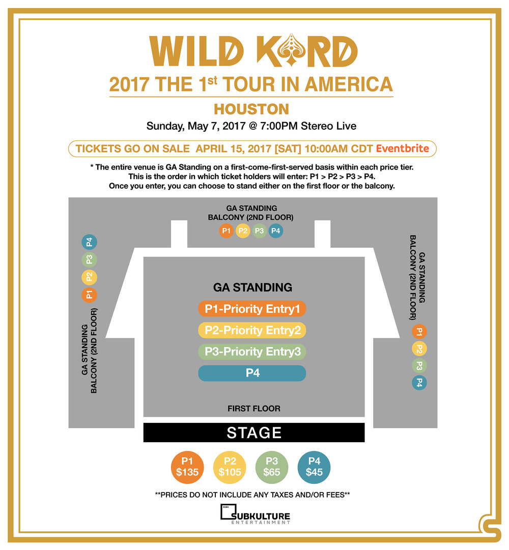 * Houston is an all standing venue. P1 goes in first, then P2, and so on. * The chart is simply specifying the order fans go into the venue.