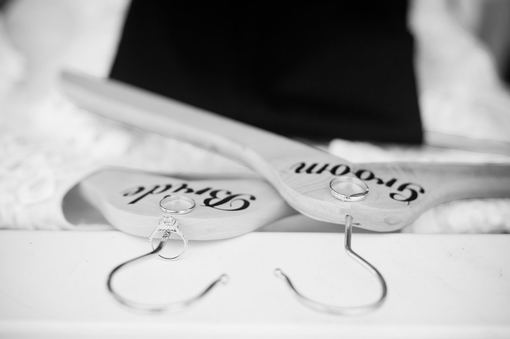 Orthodox Jewish Wedding, Dyker Beach Park and Golf Course, Brooklyn, New York, Photo by Chaim Schvarcz, Bride and Groom hangers, Details, Rings, Gown, Suit