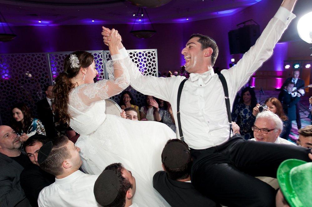 Josh and Michelle's Modern Jewish Wedding at Congregation Keter Torah, Teaneck, New Jersey Photos by Chaim Schvarcz, Dancing, Bride, Groom