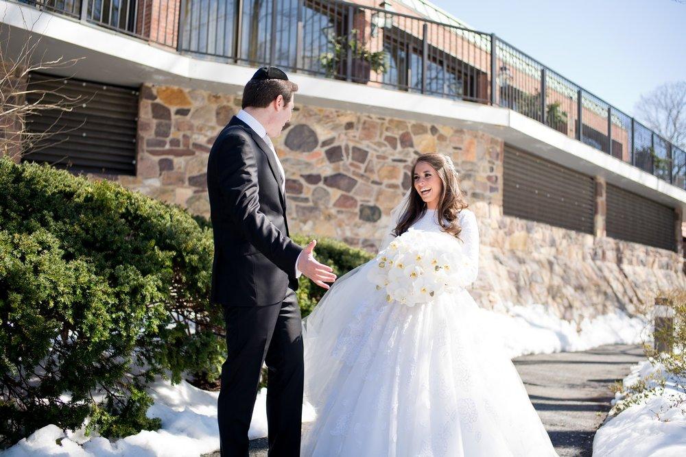 First Look Blog Post Photos By Chaim Schvarcz Bride Groom Wedding Day Snow