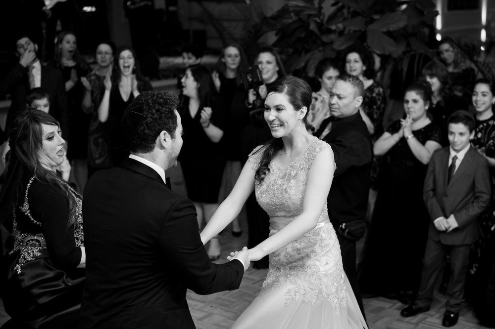 Yoey and Aaron's Memorial Day Modern Jewish Wedding at Anthony's Pier 9, New Windsor, NY Photos by Chaim Schvarcz bride groom dance
