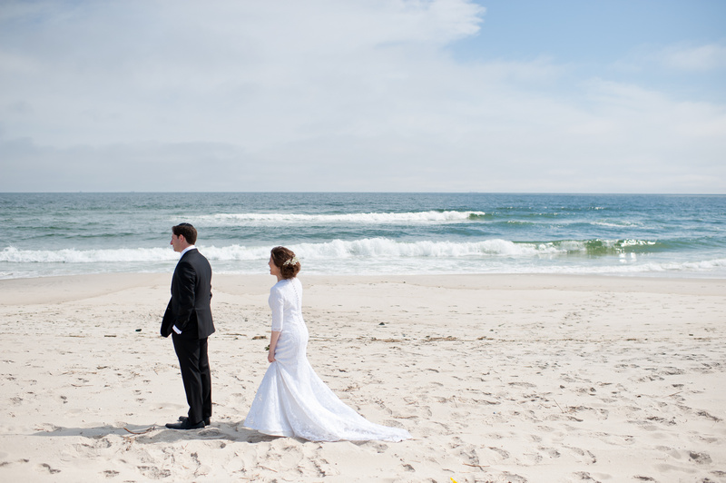 Danna and Eitan's Modern Orthodox Jewish Wedding at The Sands, Atlantic Beach, NY Photos by Chaim Schvarcz bride groom first look portraits couple