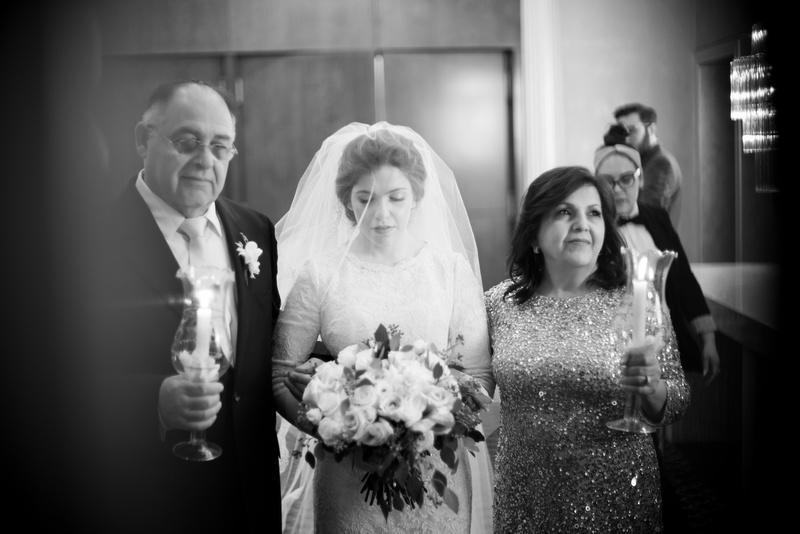 Danna and Eitan's Modern Orthodox Jewish Wedding at The Sands, Atlantic Beach, NY Photos by Chaim Schvarcz bride groom walk down isle chuppah