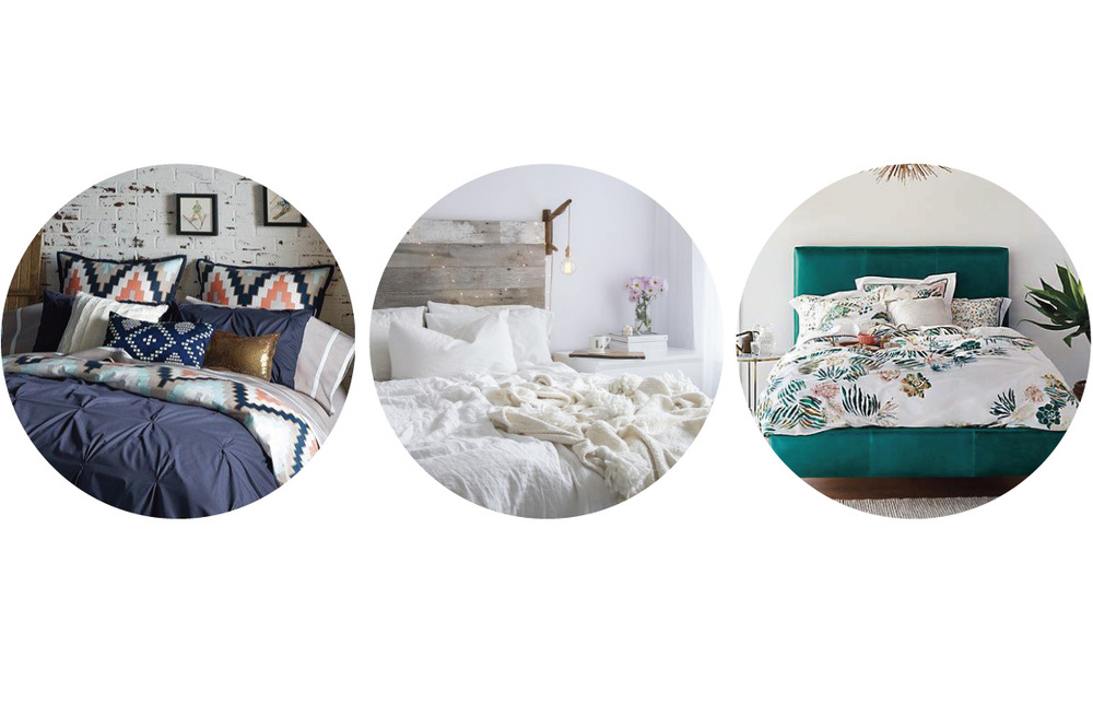 From left to right | Navy bedding with geometric throw pillows image from  my luxe finds  | White on white bedding image from  l  indsay marcella  | Teal palm print bedding image from  a  nthropologie  |