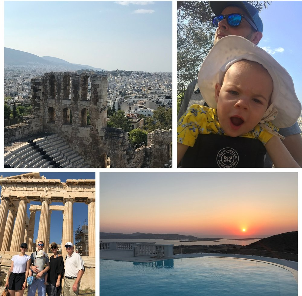 Clockwise from top left: View from Acropolis; Laila in the baby carrier, protesting the hot temps; the pool and view from our villa in Paros; me, Andries, and Laila with my parents at the Parthenon.