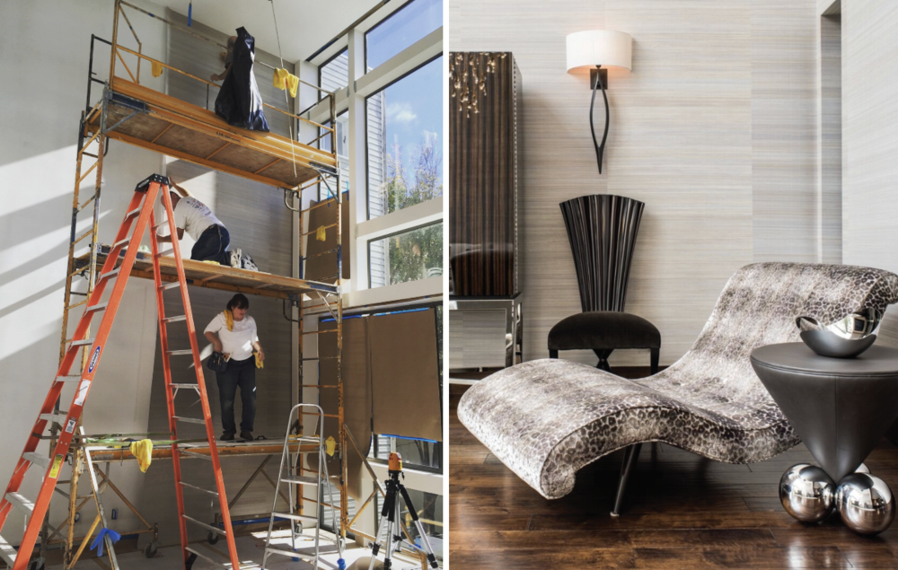 Left: Heidi and her team install a Phillip Jeffries wall covering on a 21' wall, Right: the finished space, designed by Phillip Silver, photographed by Drew Kelly.