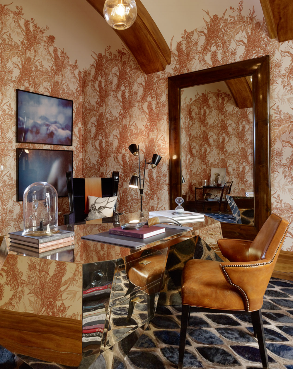 """In this install, Heidi cut small pieces of the pattern to """"feather"""" the design into the arched ceiling. Design by Geoffrey DesSousa, wallpaper by Timorous Beasties, photo by Matthew Millman."""