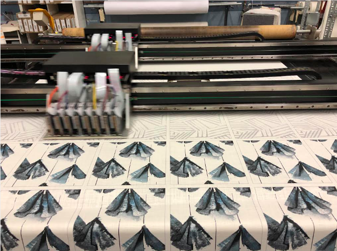 Printing in action: yards of Botanica and Miramar fabric samples!