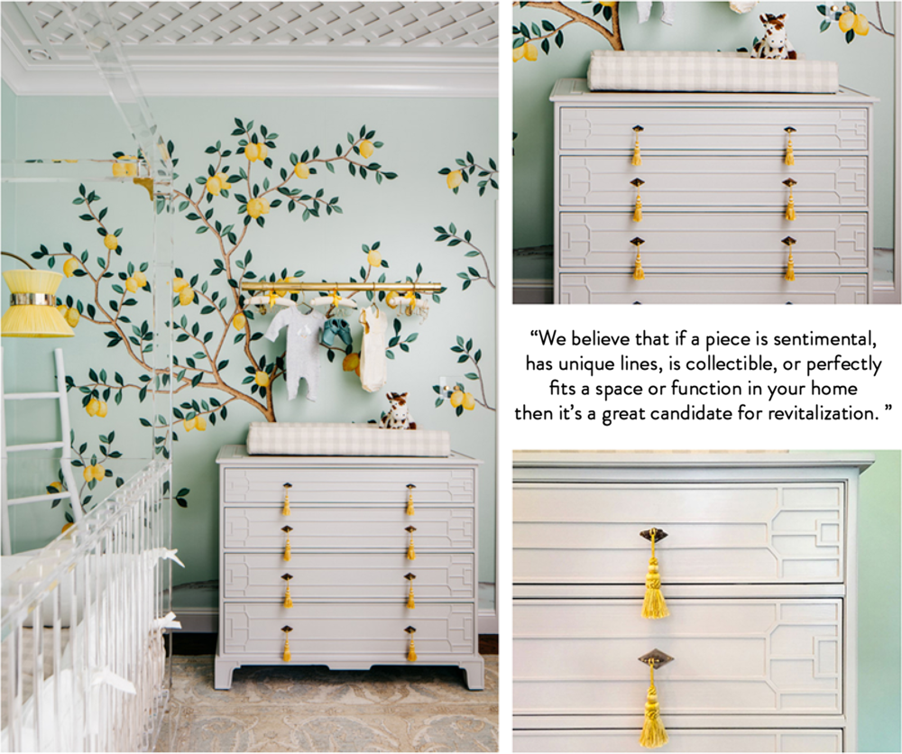 Revitaliste updated and customized this dresser for Dina Bandman Interiors' 2018 SF Decorator Showcase room; photography by Christopher Stark