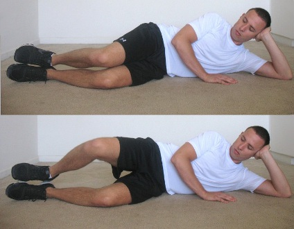 Pilates clams. A simple and effective way to work your external rotators.