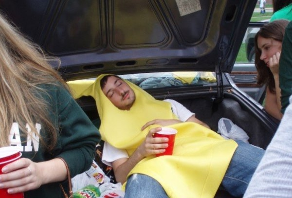 """What do you do when you tailgate?"" ""Oh, you know. Dress up like a banana and pass out in my trunk on top of the chips. NBD."""