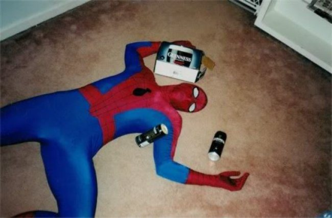 Spiderman, Spiderman. Drinks whatever is in a can. Passes out, where he wants. Look out, step over Spiderman.