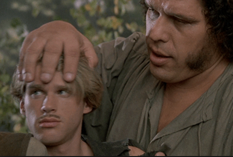 There's a good chance that Elwes' head was about the size of Andre's liver.