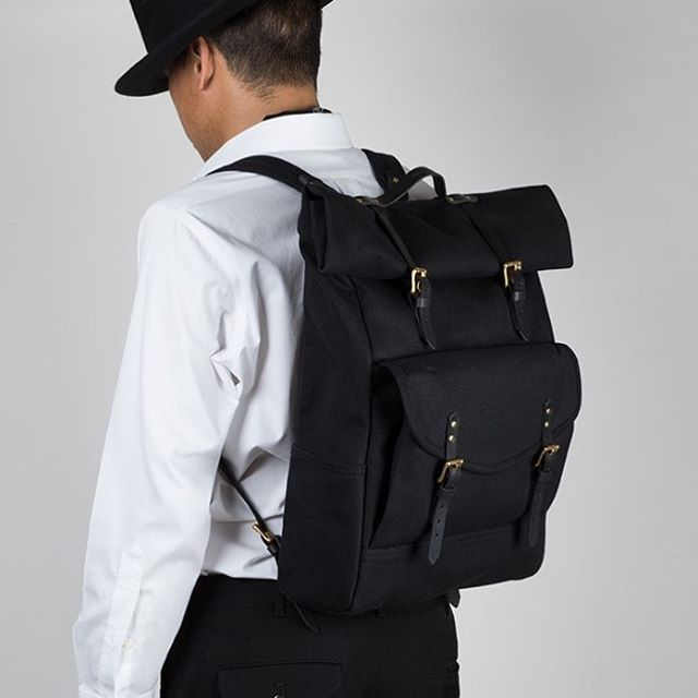 Launching soon...The Roll Top Pack, part of the BLACK by Black House Project Collection. Made in heavy duty duck canvas and Vinegar Black veg tanned leather.  #blackhouseproject #handmade #madeinsanfrancisco #backpack #travel #leathercraft #leathergoods #accessories #fashionphotography #photography #followforfollow #new